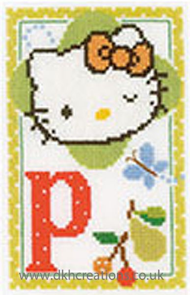 Hello Kitty Alphabet Letter P Cross Stitch Kit